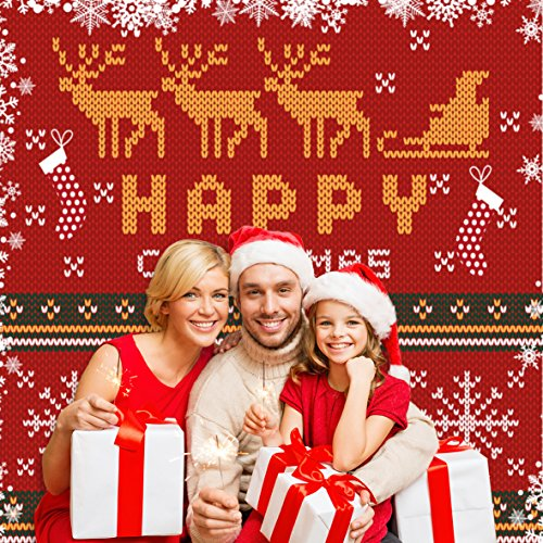 Funnytree 10x10ft Knitting Happy Christmas Backdrop Cloth Photography Backdrops Reindeer Santa Claus Photo Studio Background Props New Year Polyester(Upgrade material washable) (10' Reindeer)