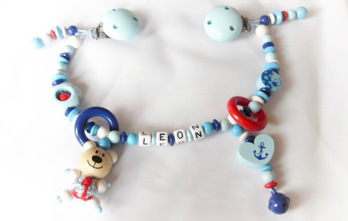 Kinderwagenkette für Jungen mit Wunschnamen - Geschenk zur Taufe, Geburt (- OHNE NAMEN - Hellblau, Skyblau, Weiß, Fuchs) Weiß Lolleby´s Kindertraumland