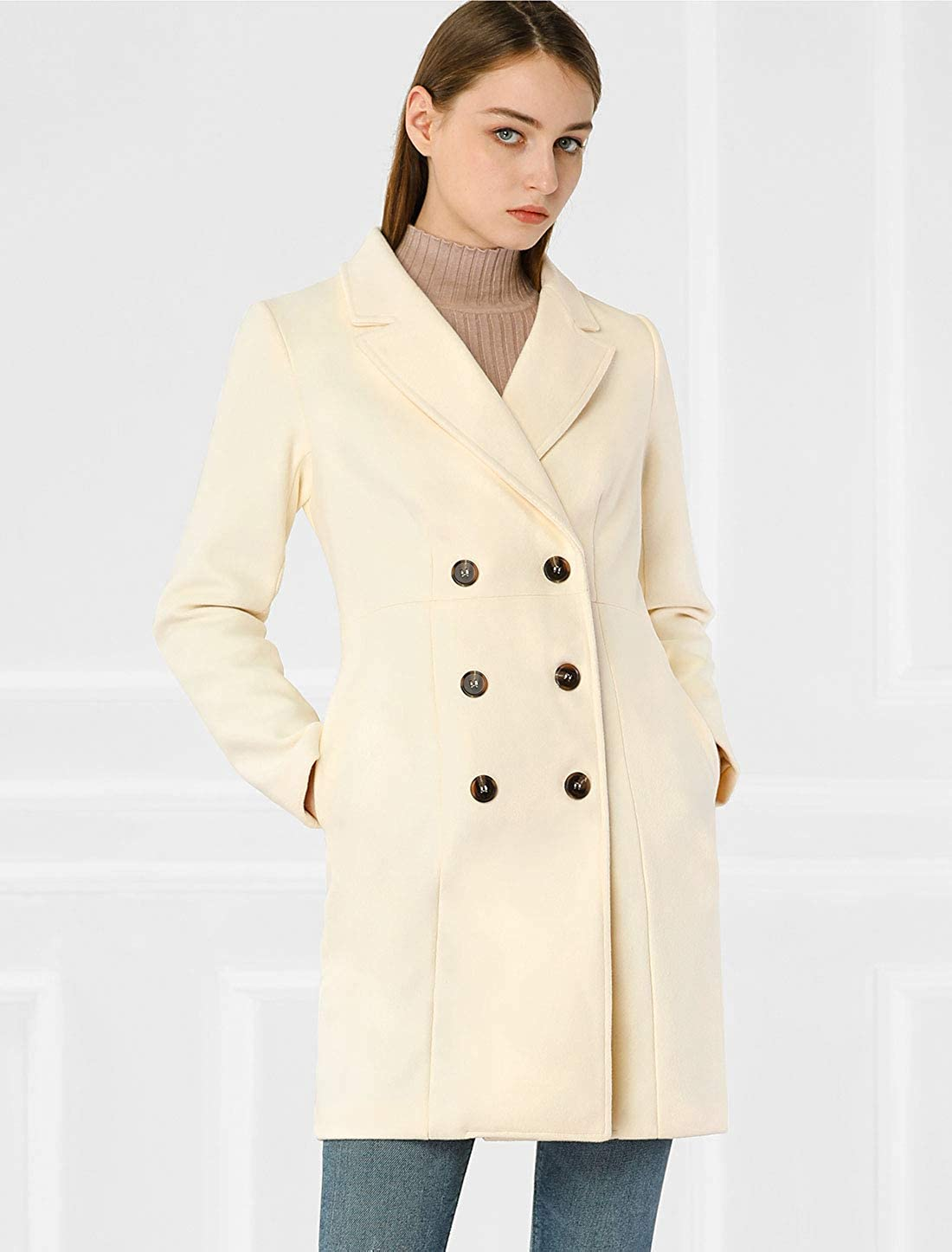 Allegra K Womens Double Breasted Notched Lapel Long Winter Coats