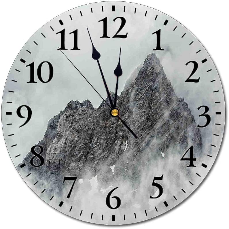 Yeeboo Farmhouse Decor 3D Print Round Wall Clock,Landscape of Jade Dragon Mountain Atmosphere on Summit Asian Natural Beauty 10 Inch Battery Operated Quartz Analog Quiet Desk Clock,White Grey