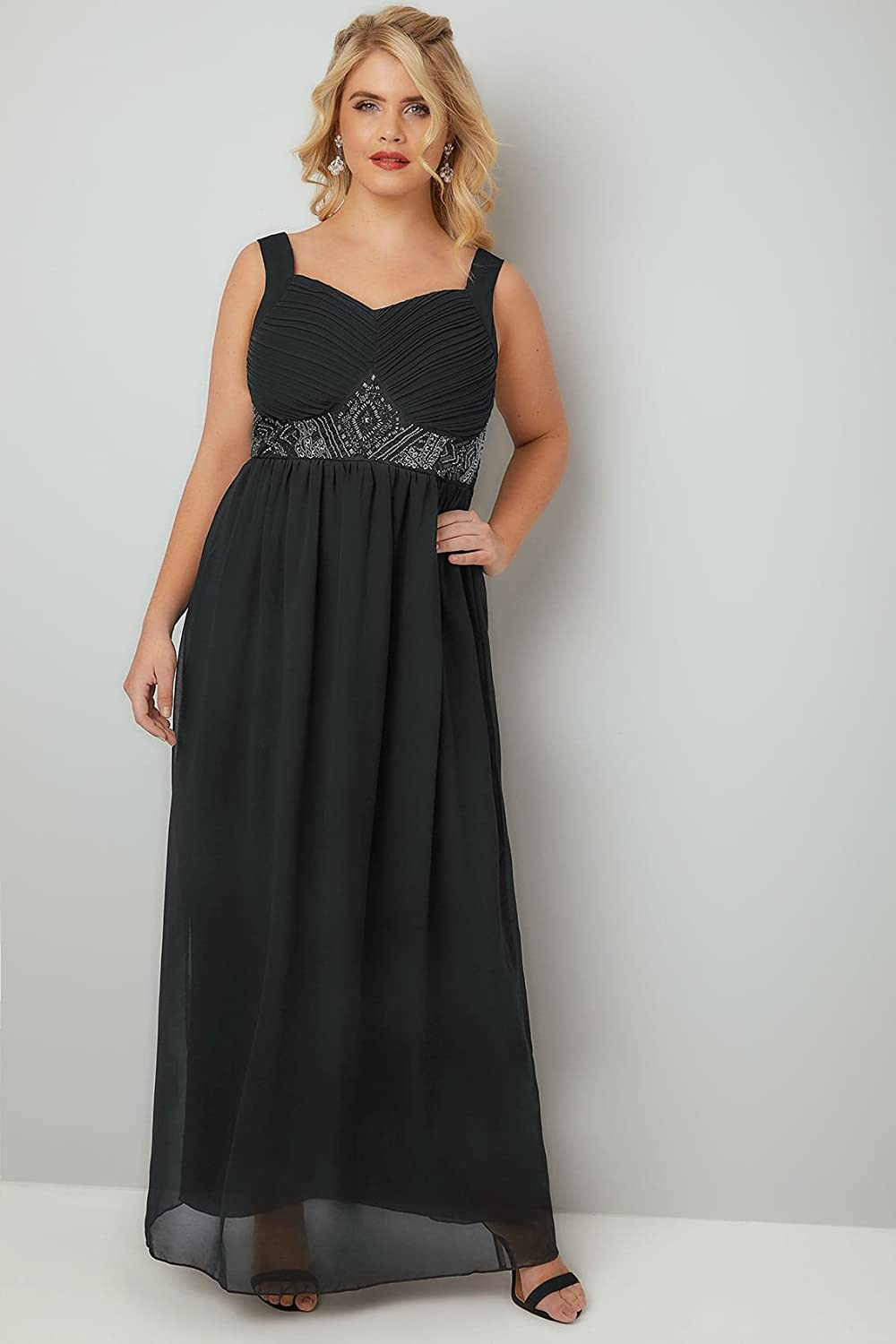 Yours Clothing Womens Plus Size Chiffon Maxi Dress with Embellished Waist Size 30-32 Black: Amazon.co.uk: Clothing
