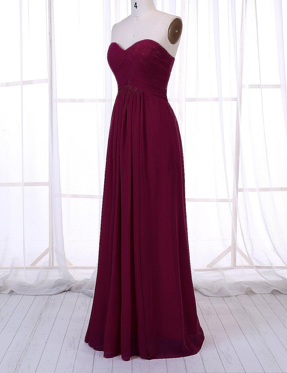 0ca083da0502 DRESSTELLS Sweetheart Bridesmaid Chiffon Prom Dresses Long Evening Gowns at  Amazon Women's Clothing store: