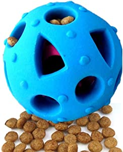 Dog Toy Balls, Interactive IQ Treat Ball Durable Dog Chew Toys Food Dispensing Toys, Non-toxic Tricky Treat Ball Food Dispenser Puzzle Toy, Tooth Cleaning Rubber Pet Ball for Small Medium Dogs Cats