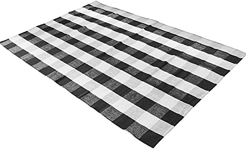 Levinis Cotton Rug Hand-Woven Checkered Carpet Braided Kitchen Mat Black and White Floor Rugs Living Room Area Rug, 47.3 x70.8