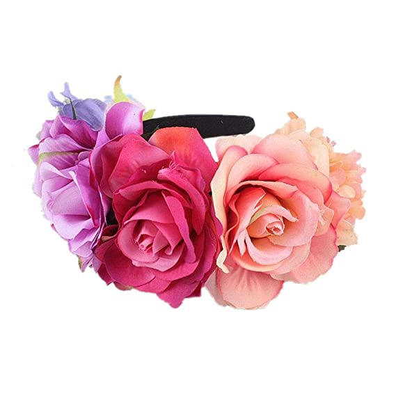 heling896 Rose Flower Crown Headband - Banda para el Cabello con Motivos  Florales para Mujeres niñas 431f495172e3