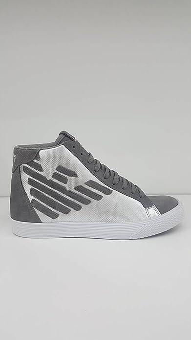 Emporio Armani EA7 Scarpe Sneakers Alte Uomo in camoscio Nuove Pride Metal  argen  Amazon.it  Scarpe e borse 3dcf6480999