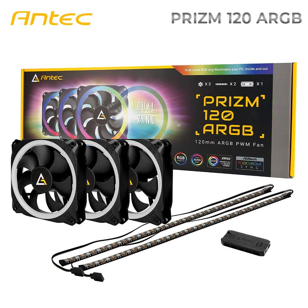 Antec Prizm 120mm Addressable RGB Case Fan Radiator - 3 Pack and 2 RGB Strips by Antec (Image #1)