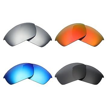 727f04b6ff MRY 4 Pares polarizadas Lentes de Repuesto para Oakley Flak Chaqueta  Sunglasses-Stealth Negro/Fuego Rojo/Hielo Azul/Plata Titanio: Amazon.es:  Deportes y ...