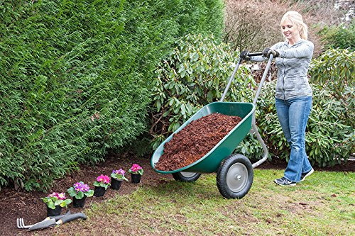 Marathon Dual-Wheel Residential Yard Rover Wheelbarrow and Yard Cart - Green by Marathon Industries (Image #3)