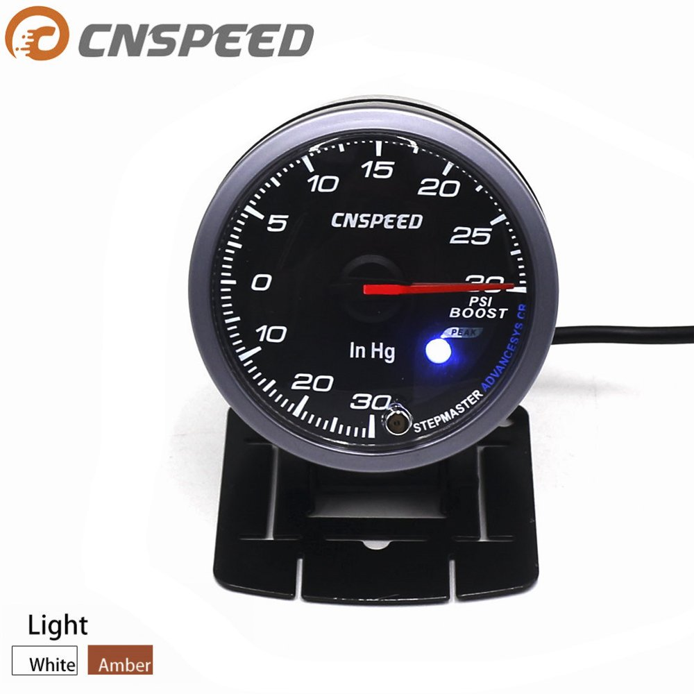 Amazon.com: CNSPEED 60MM Black Face Car Turbo Boost Gauge PSI with White& Amber Lighting: Automotive