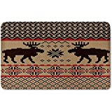 Memory Foam Bath Mat,Cabin Decor,Knitted Swatch with Deers and Snowflakes Classic Country Plaid Digital Print DecorativePlush Wanderlust Bathroom Decor Mat Rug Carpet with Anti-Slip Backing,Brown Tan