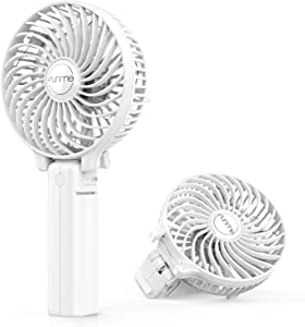 FUNME Mini Handheld Fan, 3 Speed Adjustable Personal Portable Fan 2600mAh Rechargeable Battery Operated USB Table Fan Cooling Foldable for Outdoor Hiking Travel Office Household, White