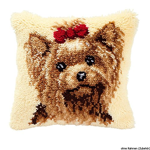 Vervaco Yorkshire Terrier Latch Hook Cushion, Multi-Colour