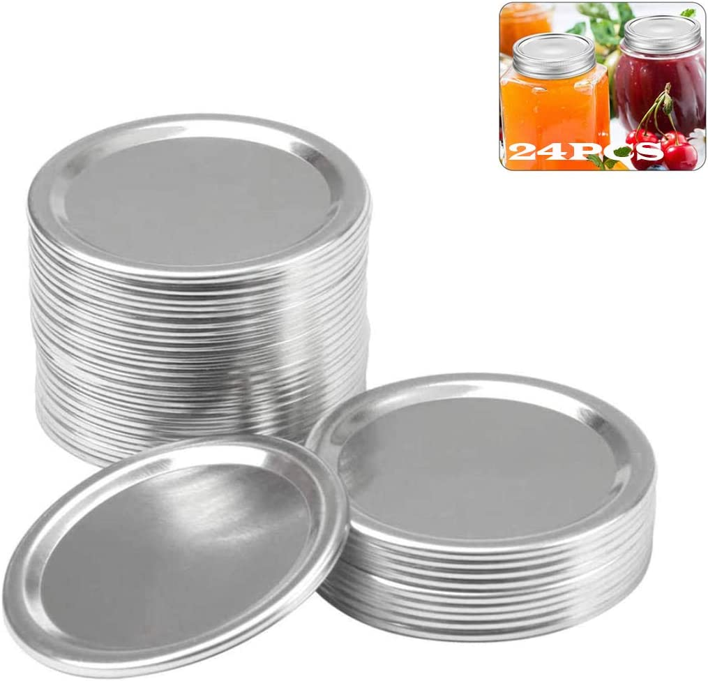 Canning Lids for Mason Jar, Regular Mouth Mason Jar lids, Stainless Steel Split-Type Mason Jar Caps Food-Grade Storage Leak Proof Reusable-Silver-24pcs (86)