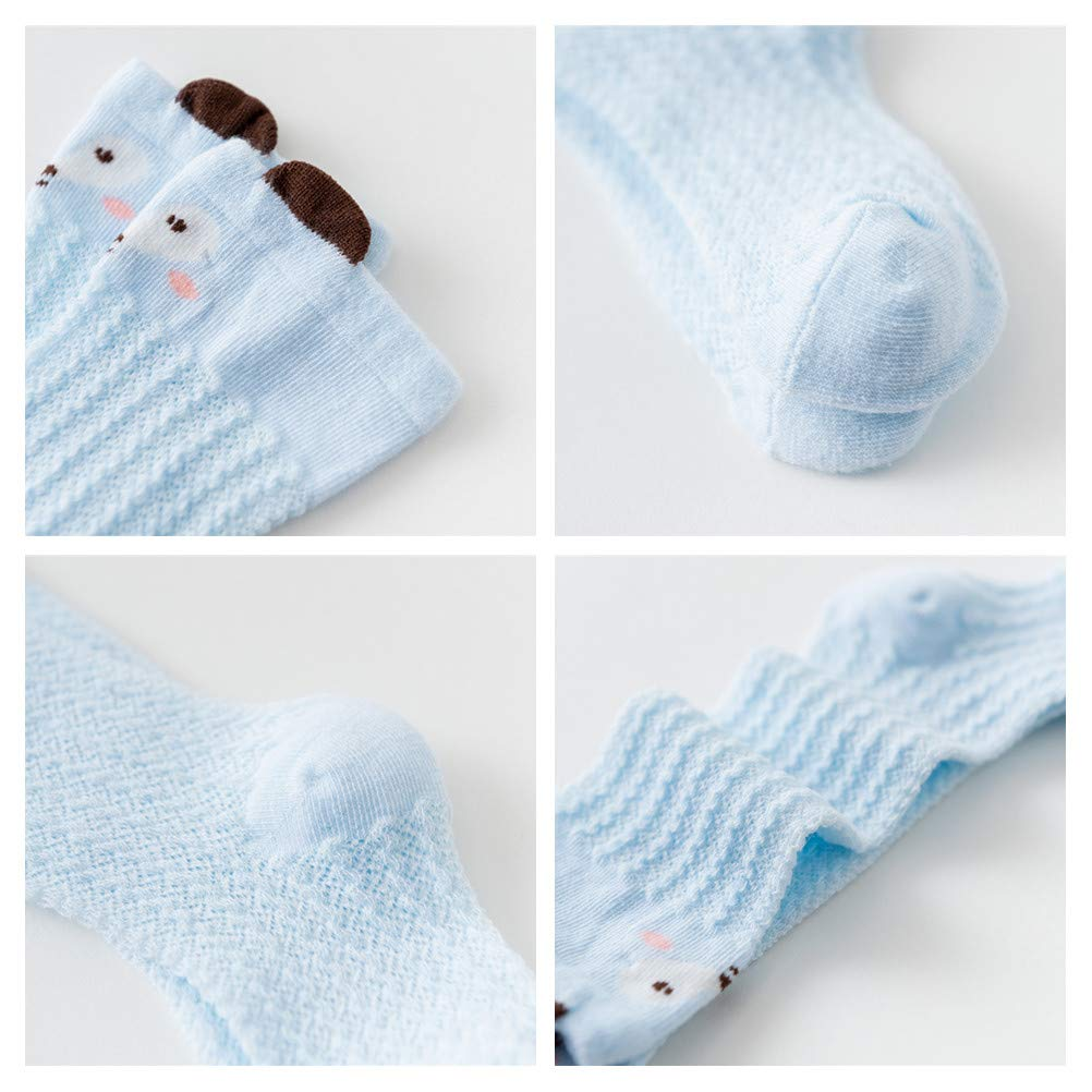 Mybbay Newborn Unisex Baby Infant Girl Boy Toddler Cartoon Lace Stocking Knit Knee High Cotton Socks 6 Pairs Gift Set
