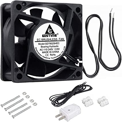 AC 110V 120V 220V 240V Ball Bearing 60mm Cooling Case Fan 60x60x25mm Computer