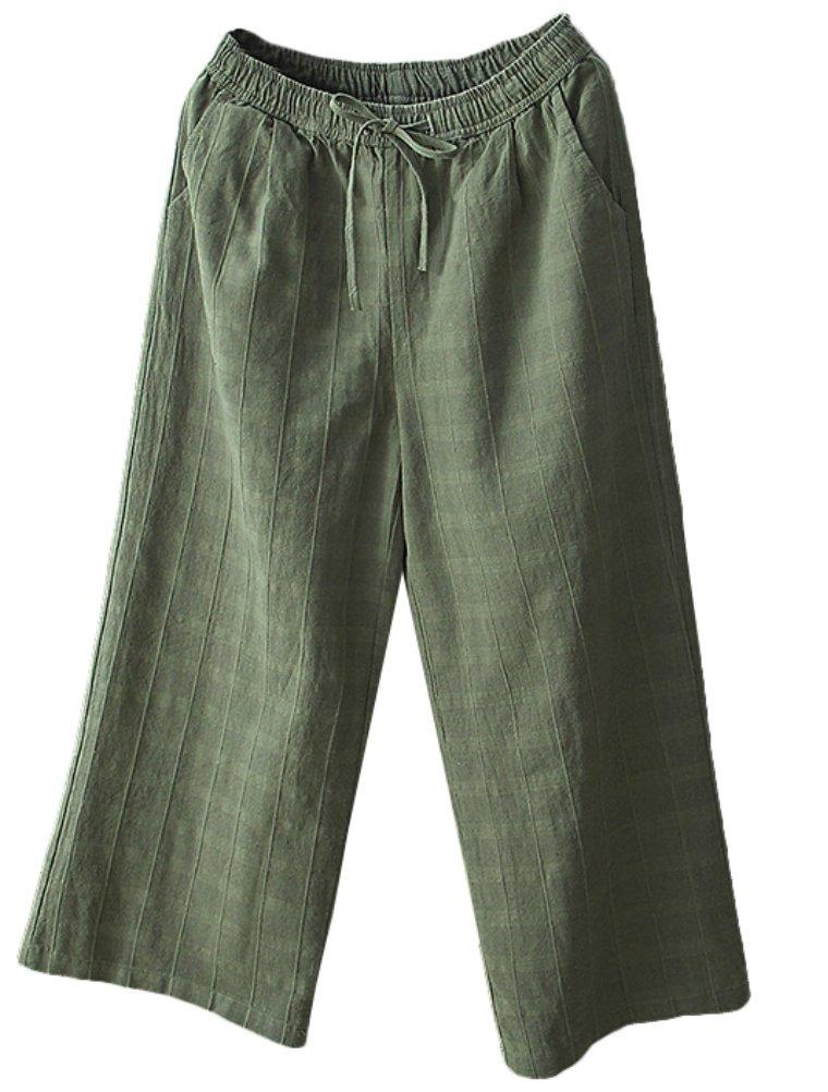 Minibee Women's Linen Elastic Waist Check Wide Leg Pants With Drawstring Army Green