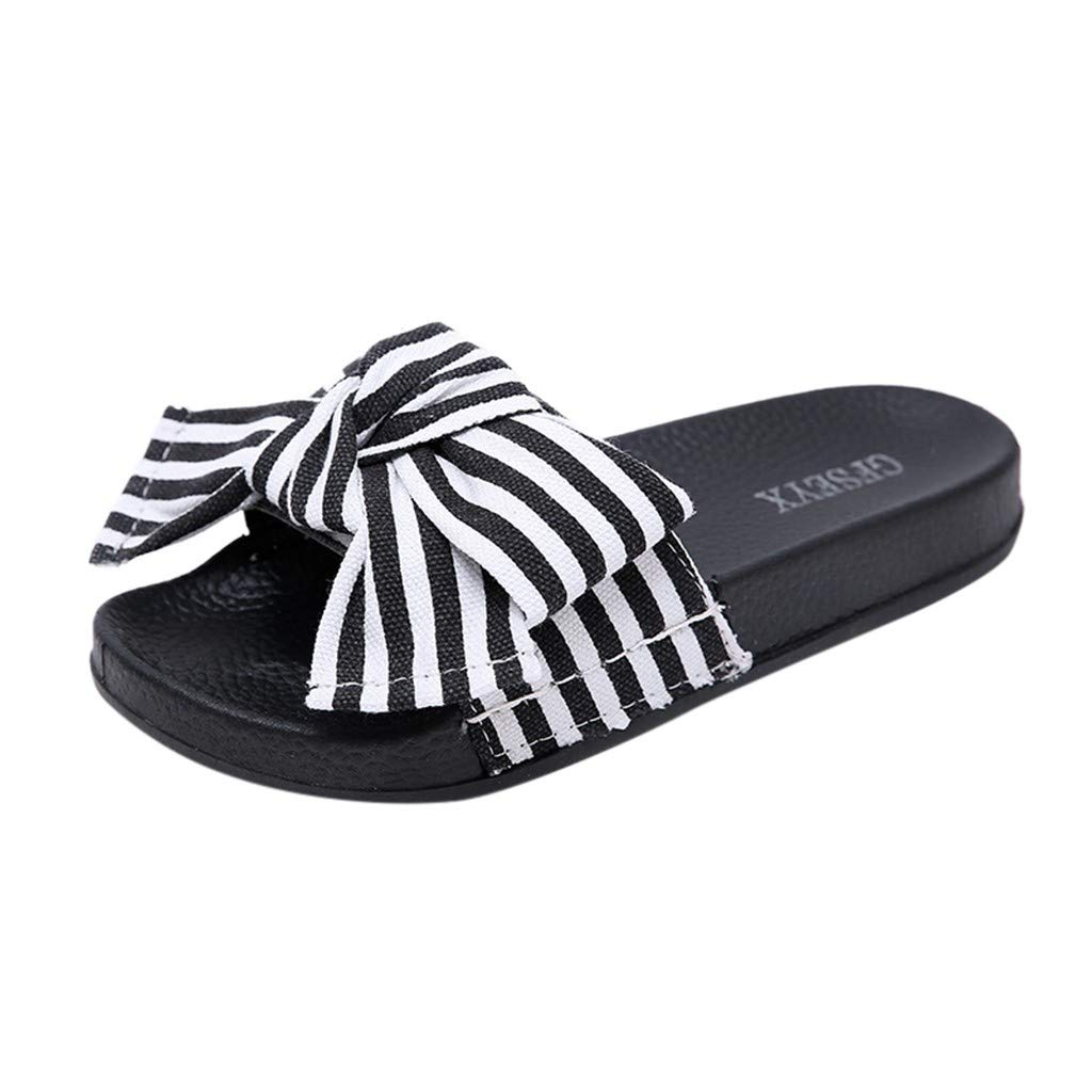 Women Bow Knot Non-Slip Shower Sandals,FAPIZI Home Soft Foams Sole Pool Slippers Bathroom Slide Water Shoes Black