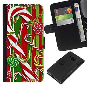 BearCase / Cuero de la tarjeta la carpeta del tirón Smartphone Slots Protección Holder /// HTC One M9 /// Bastón Blanco rojo de Navidad Navidad