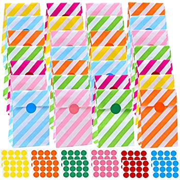 TOYMYTOY 40 Pcs Party Bags Gift Paper Bags Grocery Bags Craft Paper Bags with 100PCS Stickers for Kids Christmas Birthday Party Supplies