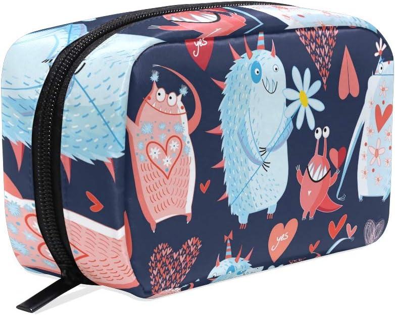 ISAOA Happy Animal Mini bolsa de maquillaje portátil de viaje, estuche cosmético resistente al agua, kit de maquillaje, neceser de almacenamiento de belleza, bolsa con cremallera para mujeres y niñas: Amazon.es: Belleza
