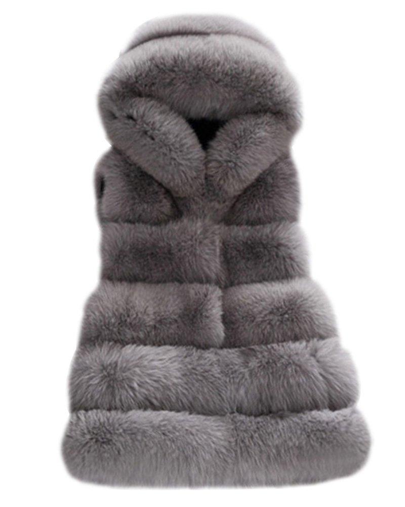 Gilet Faux Pelliccia Per Donna Senza Maniche Con Cappello Caldo Overcoat Per Festa Wedding