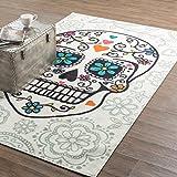 Mohawk Home Aurora Sugar Skull Dia de los Muertos Printed Area Rug, 7'6×10′, White