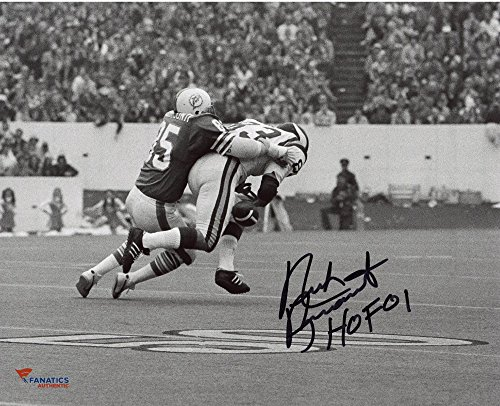 (Nick Buoniconti Miami Dolphins Autographed 8'' x 10'' Black and White Tackle Photograph with