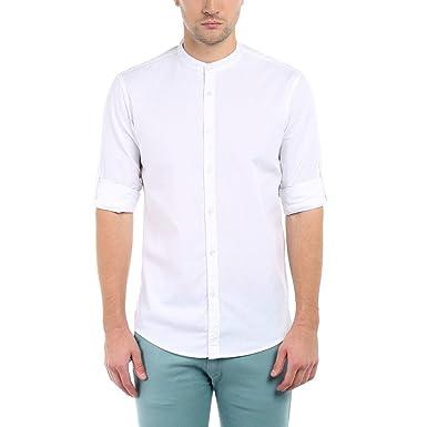Dennis Lingo Men's Cotton Casual Full Sleeves Slim fit White Shirt ...