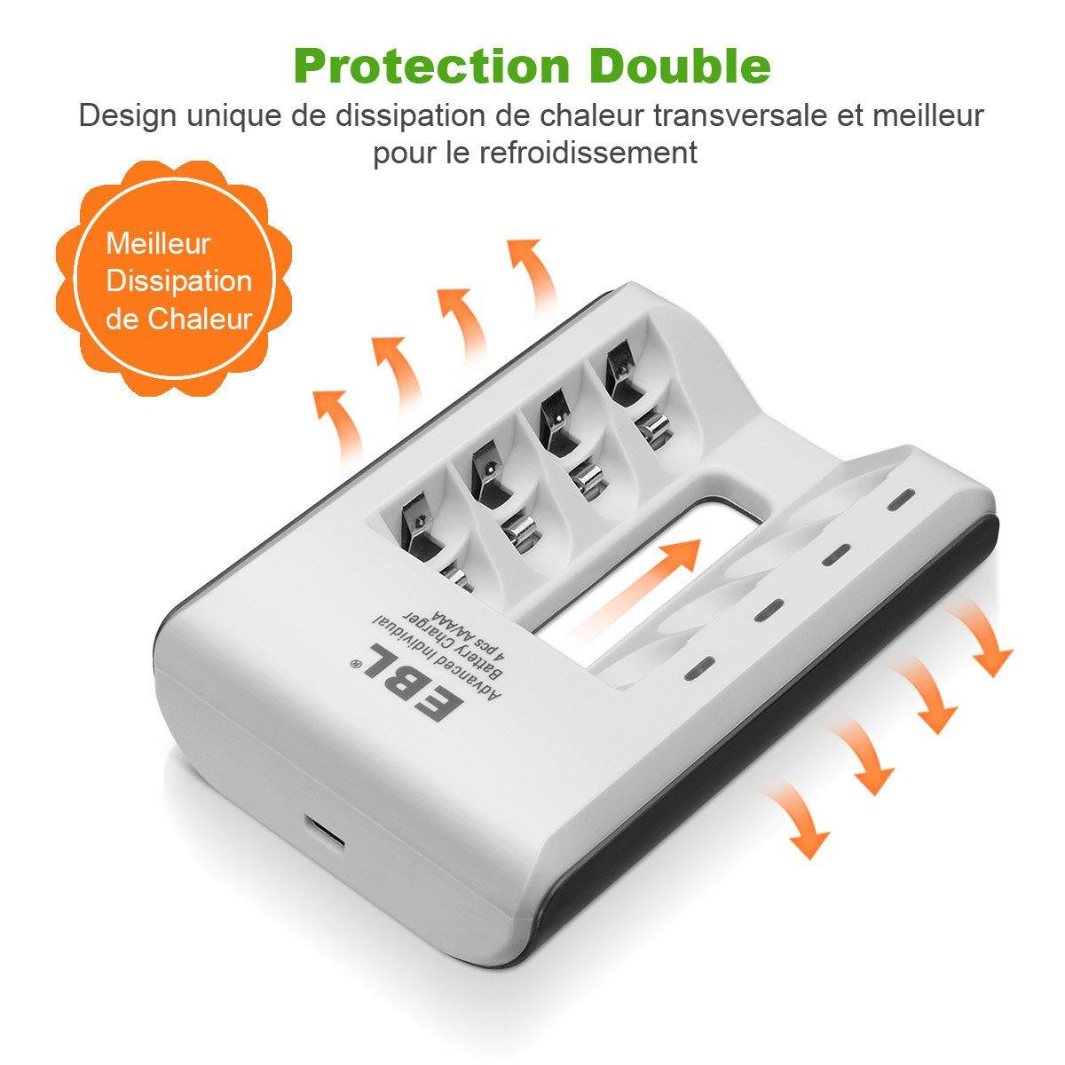 EBL Chargeur de Piles Ultra Rapide avec 4 Slots pour Piles AA AAA Rechargeables NiMh Batterie