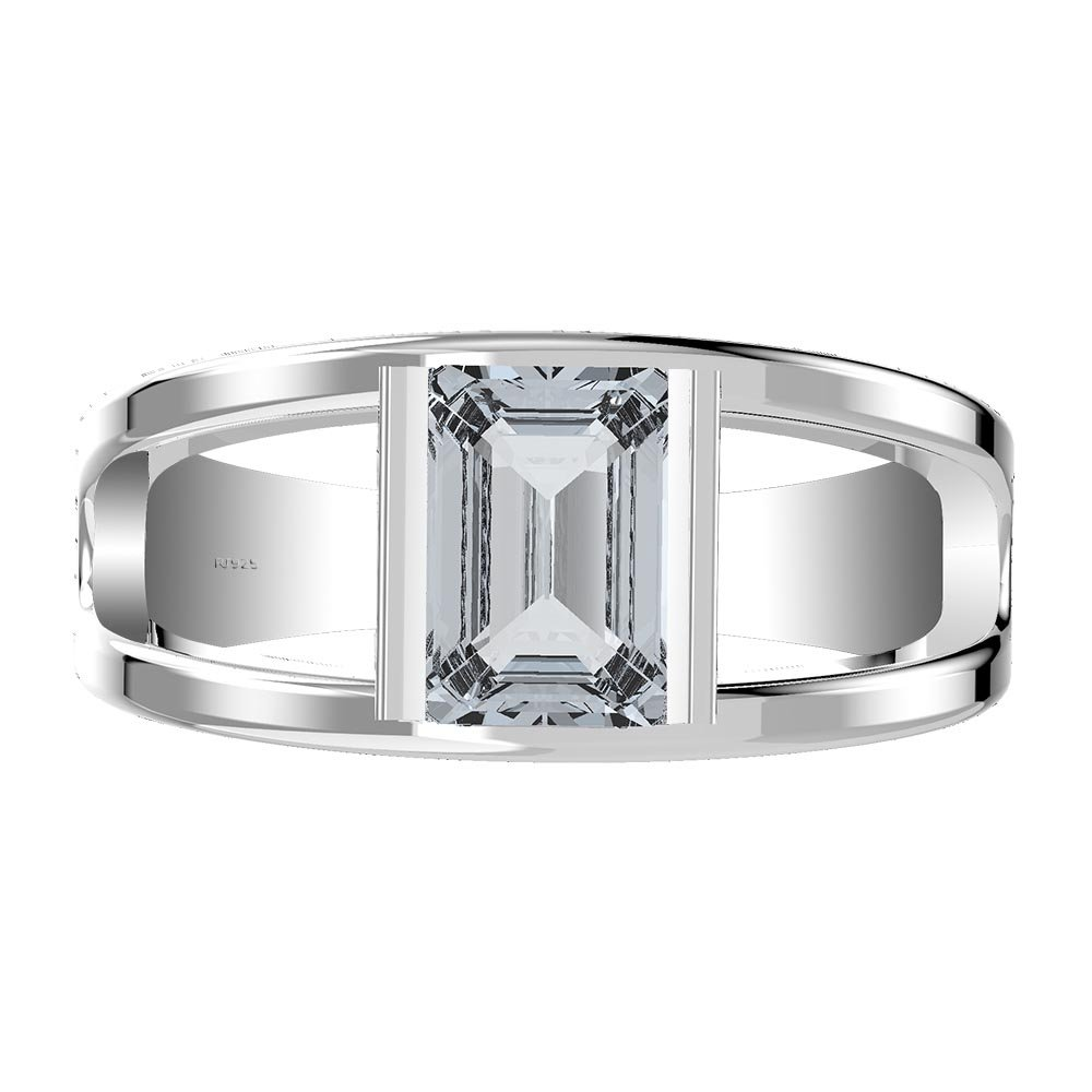 Tommaso Design Solid 14k White Gold Classic Oval 3 stone Engagement Promise Ring
