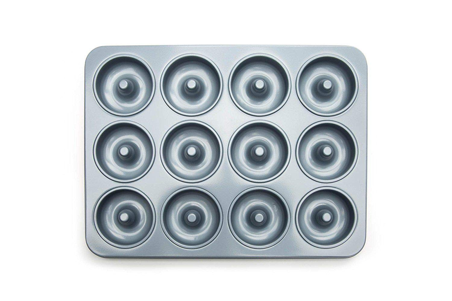 Akkapeary Nonstick Heavy Gauge Steel Mini Donut Pan Kitchen Bakeware For 12 Donuts prevent warping allow even heat distribution without the grease lower in fat and calories 10'' x 7.75'' Silver by Akkapeary (Image #1)