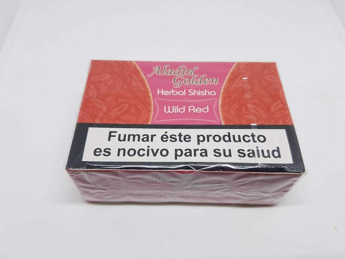 Aladin Golden Shisha, Melaza (sin nicotina) Cachimba 10 x 50g Sabor Fresa-Strawberry ó Variado.