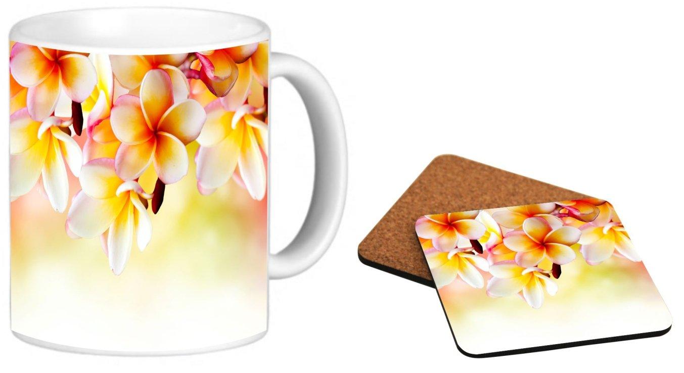 Rikki Knight Frangipani Tropical Spa Flower Design Photo Quality 11 oz Ceramic Coffee Mug + Matching Square Cork Backed Coaster