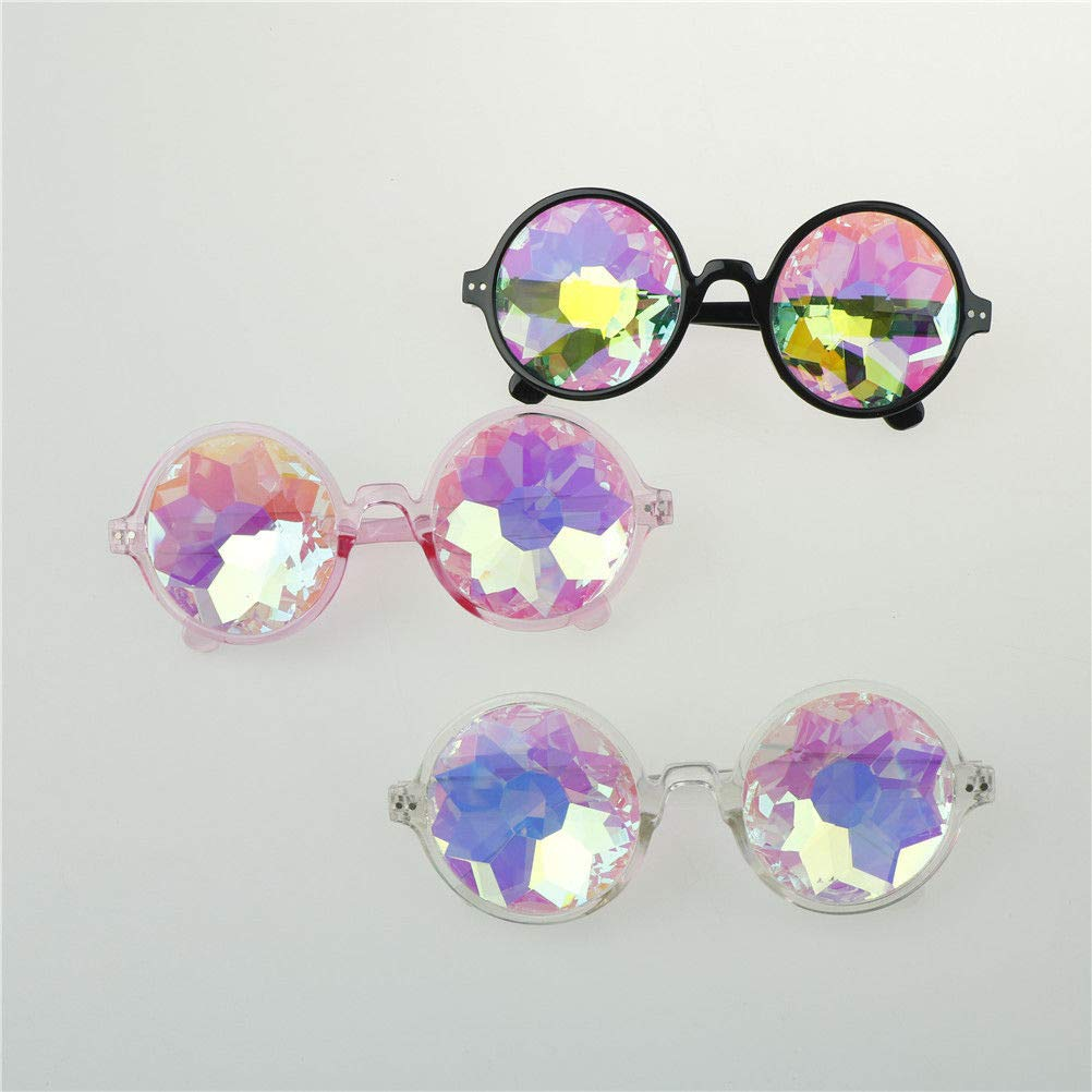 Magik Festival Party Rave Kaleidoscope Rainbow Round Glasses Diffraction Prism Glasses (Black+Pink+Clear 3 Pack) by Magik (Image #2)