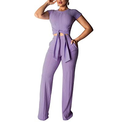 Women's High Waisted Outfits Two Piece Jumpsuit Crop Top Bell Bottom Pants Set with Belt: Clothing