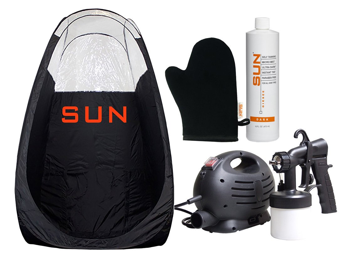 Sun Laboratories Small Sunless Spray Tan Machine -At Home Airbrush Tan System with Tent, Solution + Mitt