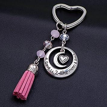 Deesos Trousseau cadeau de Saint-Valentin je taime coeur et lune pendentif porte-cl/é meilleur cadeau pour lanniversaire des amoureux amour
