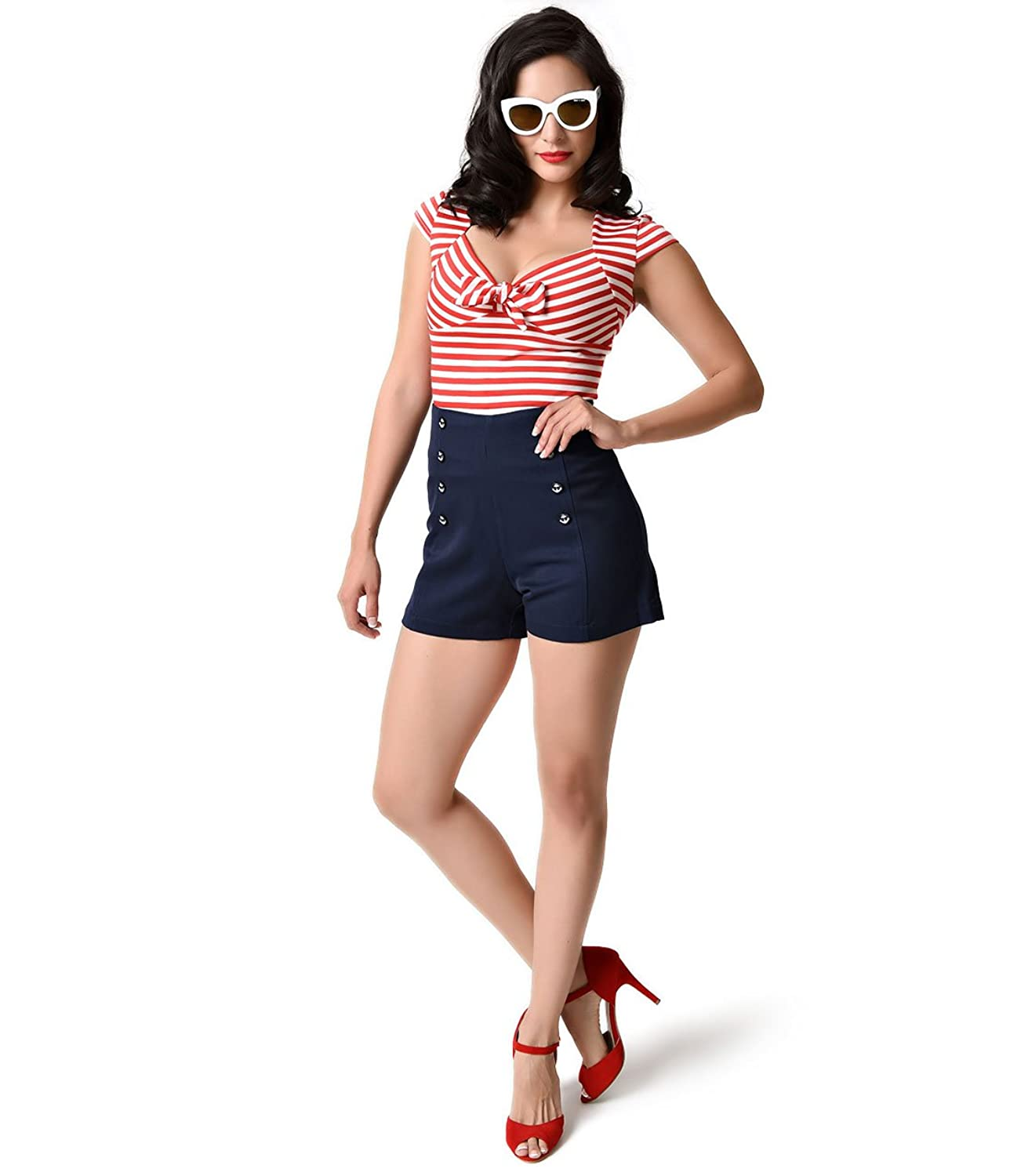 High Waisted Shorts- 1950s Vintage, Pinup, Rockabilly Banned Nautical Navy High Waist Stay Awhile Stretch Sailor Shorts $42.00 AT vintagedancer.com