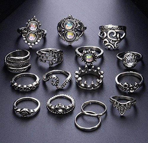 16PCS Heart Shaped Flower Ring with Large Gemstone Crown Vintage Engraved Set Ring