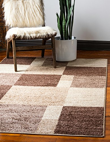 Unique Loom Autumn Collection Abstract Checkered Casual Warm Toned Light Brown Area Rug (5′ x 8′) For Sale