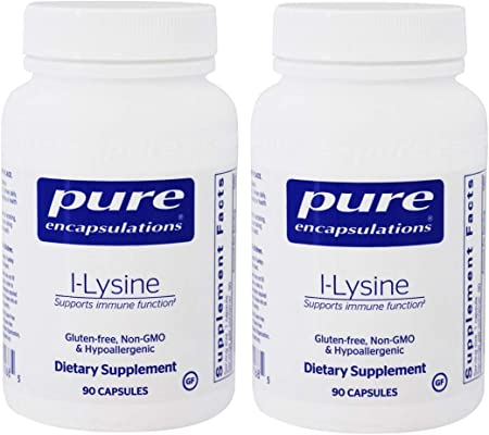 Pure Encapsulations l-Lysine (L-Lysine HCI - Free Form 500mg) as a Dietary Supplement - 90 Capsules (Pack of 2) Total 180 Capsules