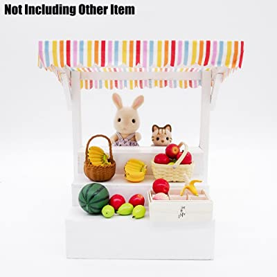 Odoria 1:12 Miniature White Grocery Store Fruit Display Counter Dollhouse Furniture Accessories: Toys & Games