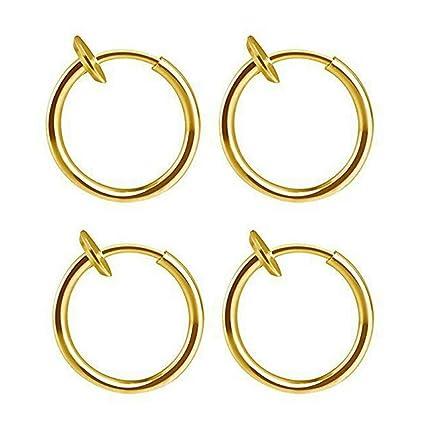 Silver Retractable Earrings-No Need Piercing Men Women Classic Hip-hop Style Hoop Earrings Hypoallergenic Earrings,Gifts for Women Gold Black