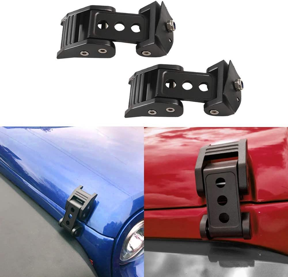 AL4X4 Latch Locking Hood Catch Kit for Jeep Wrangler JK JKU 2007-2017 Black Stainless Steel 1 Pair