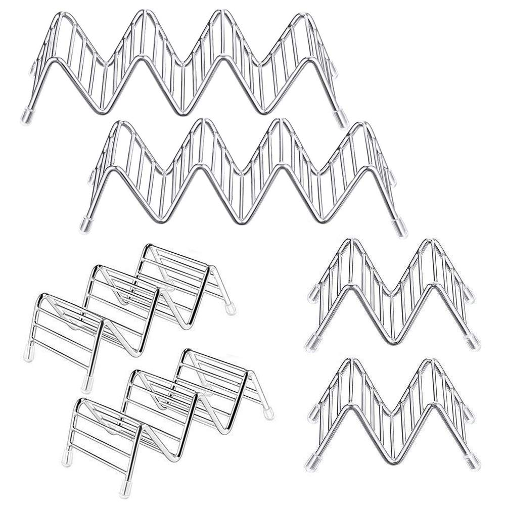 WooBrit Taco Holder Stand 6 Pack Stainless Steel Taco Truck Tray Style for 12 to 18 Tacos Each, Party Platters and Serving Trays, Mexican Food Taco Rack Shells, Safe for Baking, Dishwasher by WooBrit (Image #1)