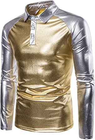 Color de contraste de los hombres Metálico Brillante POLO Tops Camisa con respaldo de cuello de