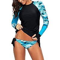 Morbuy Dam långärmad utslag väst badtröjor, 2 delar sport surfbaddräkt slim fit tryckt tankini badkläder UV-skydd…