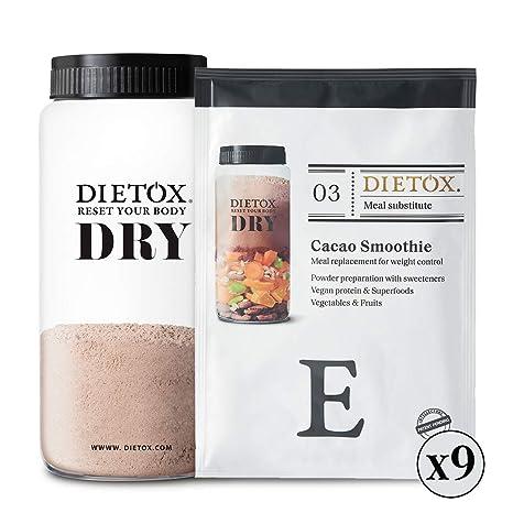 Dietox Dry Cacao - Dieta de batidos veganos. Sustitutivo de 9 comidas para adelgazar y
