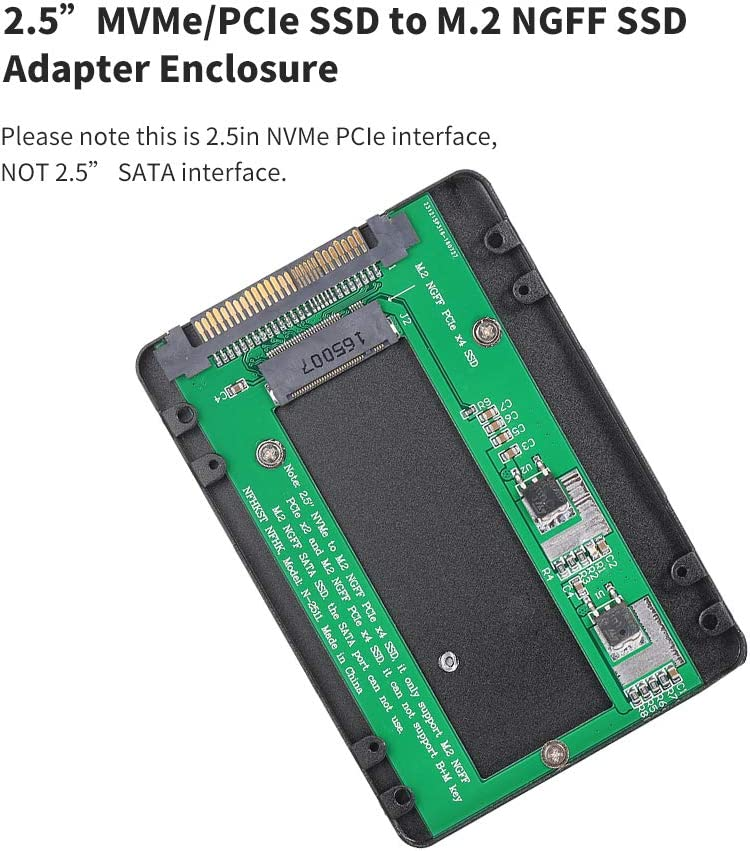 2.5in NVMe//PCI-E SSD to M.2 NGFF PCIe x4 SSD Adapter Enclosure PCI Express SSD Adapter Card Walmeck